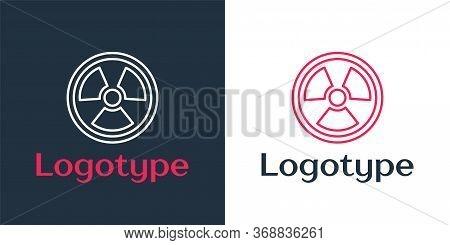 Logotype Line Radioactive Icon Isolated On White Background. Radioactive Toxic Symbol. Radiation Haz