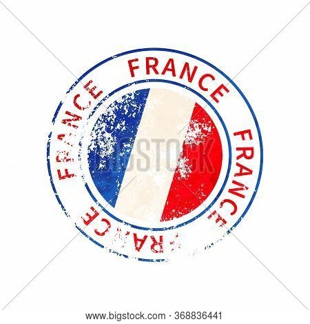 France Sign, Vintage Grunge Imprint With Flag On White