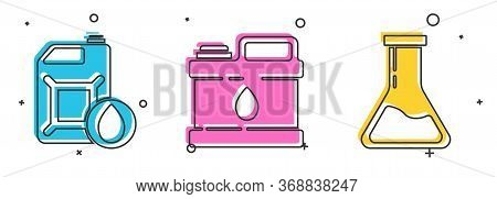 Set Canister For Motor Machine Oil, Canister For Motor Machine Oil And Test Tube And Flask Icon. Vec