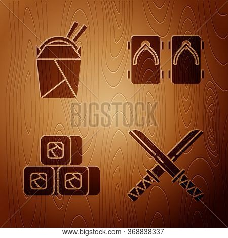 Set Traditional Japanese Katana, Asian Noodles In Paper Box And Chopsticks, Sushi And Geta Tradition