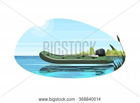 Inflatable Boat With Engine Semi Flat Vector Illustration. Maritime Vessel With Motor For Fishing. S