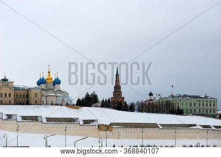 Kazan, Russia - January 5 2020: Annunciation Cathedral And The Suyumbike Tower - Sentinel (watch) To