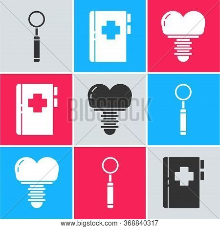 Set Dental Inspection Mirror, Clipboard With Dental Card And Dental Implant Icon. Vector.