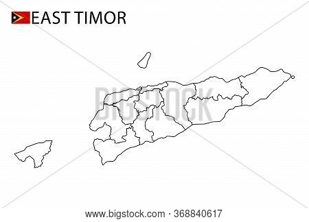 East Timor Map, Black And White Detailed Outline Regions Of The Country.