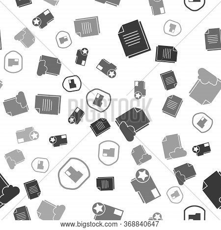 Set Document, Document Folder With Star, Cloud Storage Text Document And Document Folder Protection