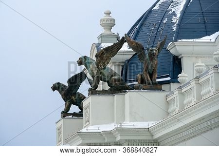 Kazan, Russia - January 5 2020: The Winged Leopard (ak Bars) Is The Symbol Of Tatarstan On The Roof