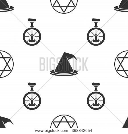 Set Star Of David, Witch Hat And Unicycle Or One Wheel Bicycle On Seamless Pattern. Vector.