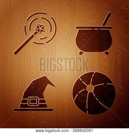 Set Beach Ball, Magic Wand, Witch Hat And Witch Cauldron On Wooden Background. Vector.