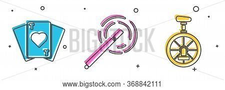 Set Playing Cards, Magic Wand And Unicycle Or One Wheel Bicycle Icon. Vector.