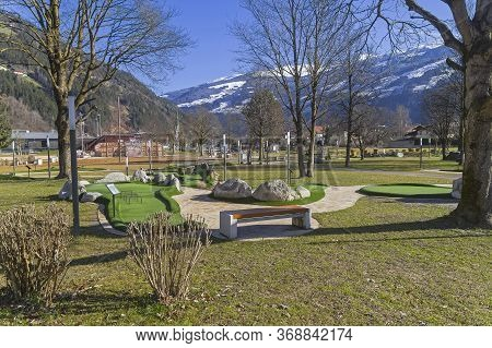 Beautiful Landscaped Park With Playgrounds In The Ski Resort Of Zell Am Ziller, Tyrol, Austria. Sunn