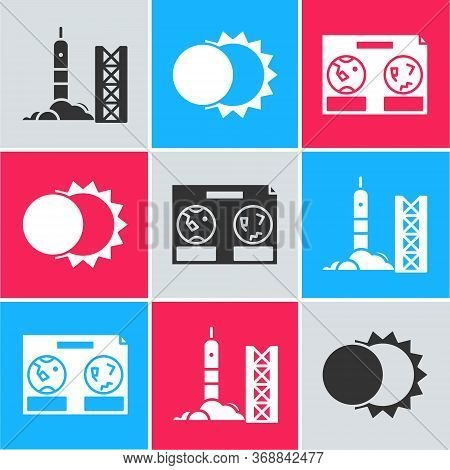 Set Rocket Launch From The Spaceport, Eclipse Of The Sun And Celestial Map Of The Night Sky Icon. Ve