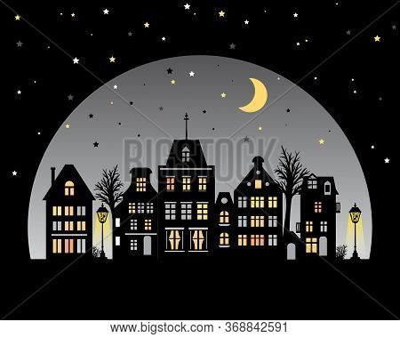 Night City Skyline. View Of Amsterdam Houses. Stylized Facades Of Buildings In Old European Style. S