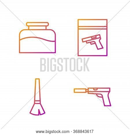 Set Line Pistol Or Gun With Silencer, Paint Brush, Inkwell And Evidence Bag And Pistol Or Gun. Gradi
