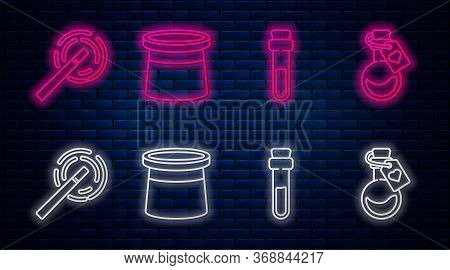 Set Line Magician Hat, Bottle With Love Potion, Magic Wand And Bottle With Love Potion. Glowing Neon