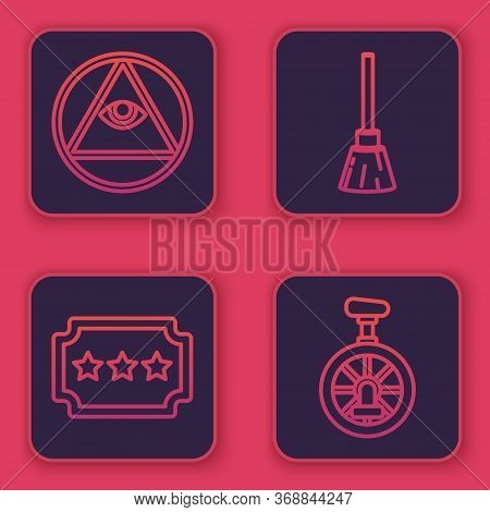 Set Line Masons, Ticket, Witches Broom And Unicycle Or One Wheel Bicycle. Blue Square Button. Vector
