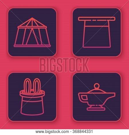 Set Line Circus Tent, Magician Hat And Rabbit Ears, Magician Hat And Magic Lamp Or Aladdin. Blue Squ