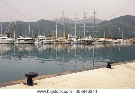 Tivat / Montenegro - May 18 2020: Yacht Marina  Of Porto Montenegro.  Montenegro, Adriatic Sea, Bay