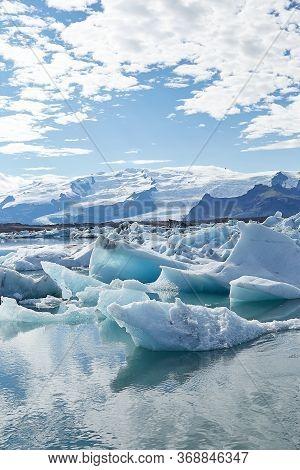 Amazing View Of White Icebergs And Ice Floes In Jokulsarlon Glacier Lagoon. Travel Destination. Natu