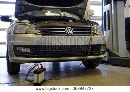 Moscow / Russia - May 25 2020: A Modern Car At A Service And Repair Station Undergoes Diagnostics. D