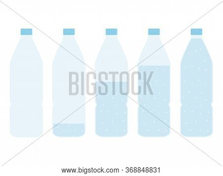 Plastic Bottle Of Water Set. Empty, Nearly Full, Half And Full Bottle Vector Illustration Isolated O
