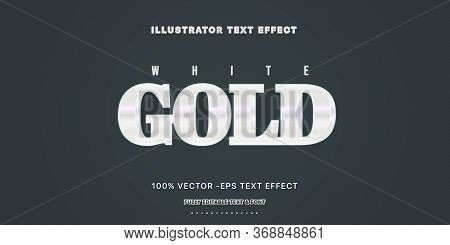 Editable Text Effect - White Gold  Illustrator Text Style