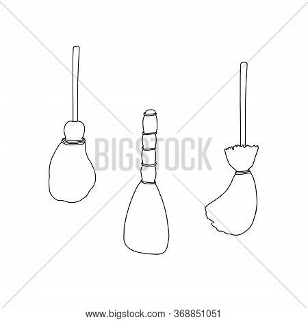 Original Hand Drawn Vector Illustration Of Witch's Brooms Set On The White Background, Halloween Par