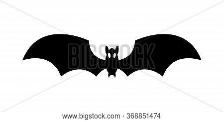 Halloween Bat Silhouette Simple Black Isolated Illustration On White Background. Halloween Bat Edita