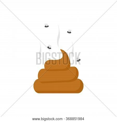 Fly Around Stinky Poop Vector Isolated. Excrement Vector Illustration Isolated On White
