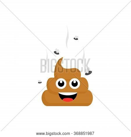 Poop Emoji Flames Icon Isolated On White Background. Fly Around Stinky Poop Vector Illustration.