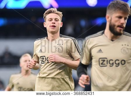 London, England - April 30, 2019: Frenkie De Jong Of Ajax Pictured Prior To He First Leg Of The 2018