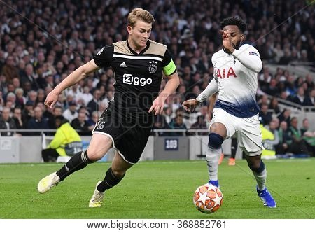London, England - April 30, 2019: Matthijs De Ligt Of Ajax (l) And Danny Rose Of Tottenham (r) Pictu