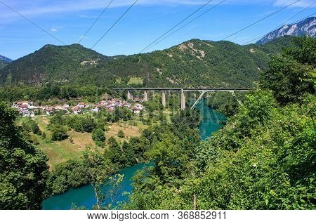 View Of Small Town Jablanica In The Dinaric Alps Or Dinarides Mountain Range In Bosnia And Herzegovi