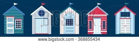 Flat Vector Illustration Of Colorful Beach Huts In Row Isolated On Dark Blue Background. Concept Of