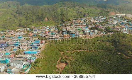 Aerial View Residential Districts Vatanappally And New Colonny City Munnar. Kerala. India.