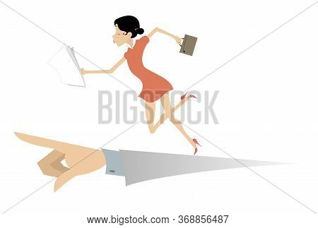Running Business Woman And Hand Points The Direction To Go Illustration. Hand Points The Direction W