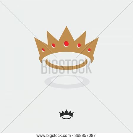 Gold Crown With Red Gems Logo. Flat Crown Icon With Shadow. Monochrome Option.