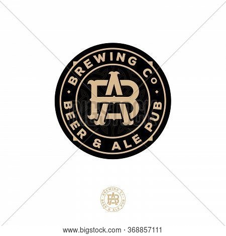 Beer And Ale Logo. Beer Pub Emblem. A And B Crossing Letters. Craft Beer Logotype At Engraving Style