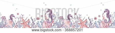 Watercolor Underwater Banner With Seahorse, Shells, Corals And Seaweed. Seamless Hand-drawn Pattern.