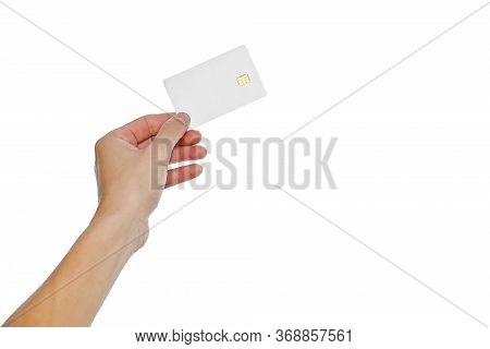 Credit Card Empty, Blank White Credit Card With Chip In Hand Holding On White Background With Clippi