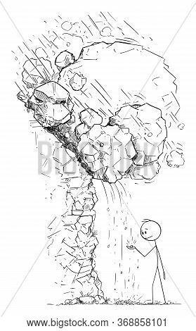 Vector Cartoon Stick Figure Drawing Conceptual Illustration Of Man Or Businessman Playing With Small