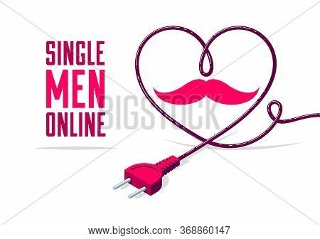 Dating Site Advertising Poster Or Banner Vector Concept Illustration With Plug, Internet Love, Onlin
