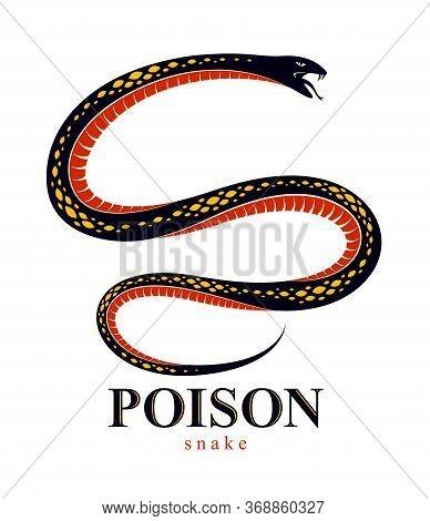 Snake Vector Tattoo, Deadly Poison Dangerous Serpent, Venom Aggressive Predator Reptile Animal Vinta