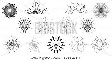 Sun Burst Set Hand Drawn Style Isolated On White Background For Logo, Tag, Stamp, T Shirt, Banner, E