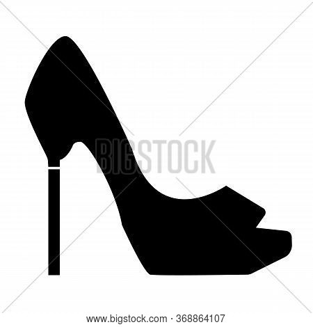 High Heel Pump Shoe Icon On White Background. Flat Style. High Heel Shoe Symbol. Shoe Sign.