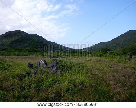 Lush Valley With Road In Distance Within Kaiwi State Scenic Shoreline On O'ahu's Southeastern Coastl