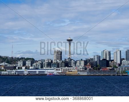 May 18, 2019 - Seattle, Wa:  Water View Of Downtown Seattle Buildings, Space Needle, Puget Sound And