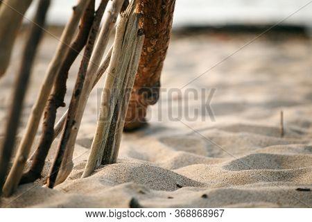 Ocean Landscape With Minimalism Design Of Wooden Sticks, Summer, Abstract Meditation Calming Zen-lik