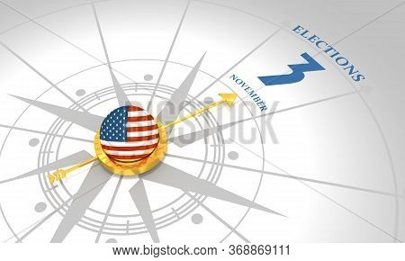 Voting Concept. Usa Elections. 3d Rendering. Abstract Compass Points To The Elections Date