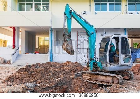Small Excavator Working Dig Excavation Site Construction