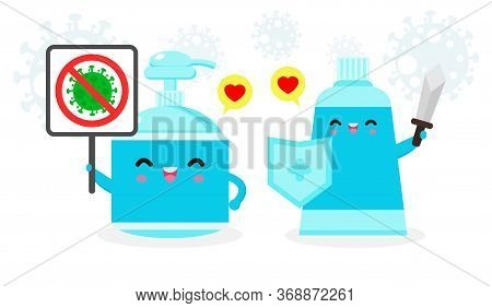 Alcohol Gel Cute Character. Hand Wash Gel And Sign Stop Coronavirus (2019-ncov), Alcohol Gel Attack